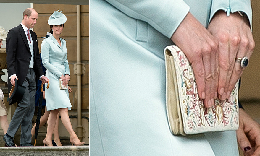 At the Queen's garden party at Buckingham Palace in May 2017, the Duchess of Cambridge made the rare choice of carrying a more colorful embroidered bag with her pale blue Christopher Kane suit.