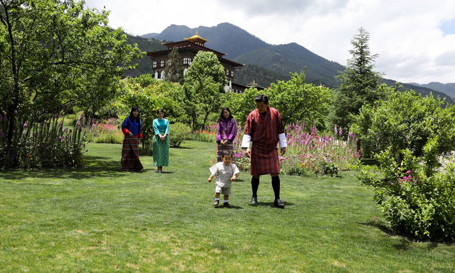 Bhutan's Prince Jigme Namgyel Wangchuck showed off his latest milestone of walking for his parents and Princess Mako of Japan at the Tashichhodzong in June 2017. 