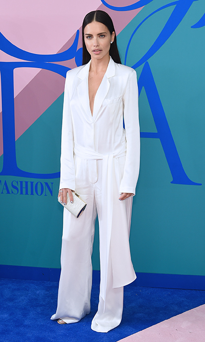 Adriana Lima showed the pajama trend is going strong is a silky white jumpsuit by Urban Zen.