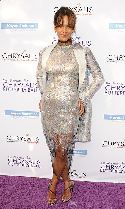 Halle Berry shimmered in silver at the 16th annual Chrysalis Butterfly Ball in Brentwood, California.  