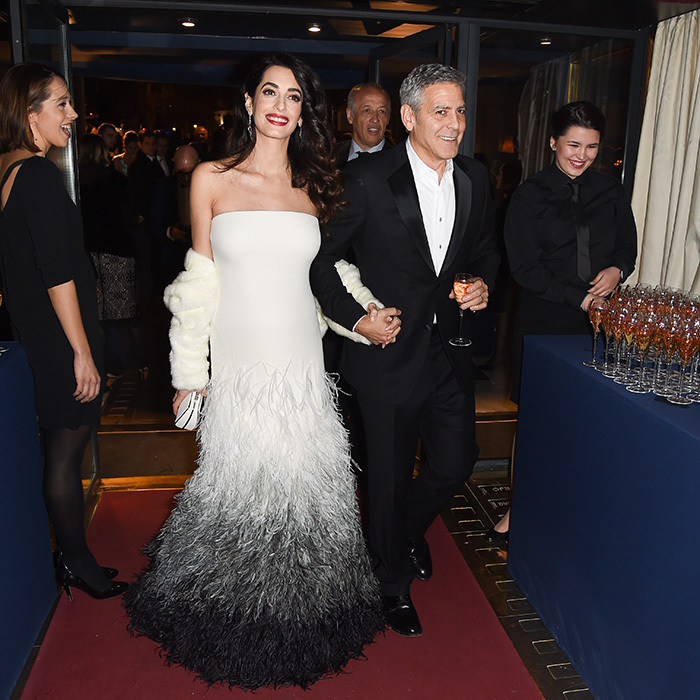 "In February 2017, the pregnant human rights lawyer accompanied her husband to the Cesar Awards in Paris, where he accepted an honorary career prize – raving about mom-to-be Amal in the process. ""To my wife Amal, there isn't a day that goes by that I'm not proud to be your husband,"" he said. ""And I am excited about the years to come, and particularly the months to come. I love you very much.""