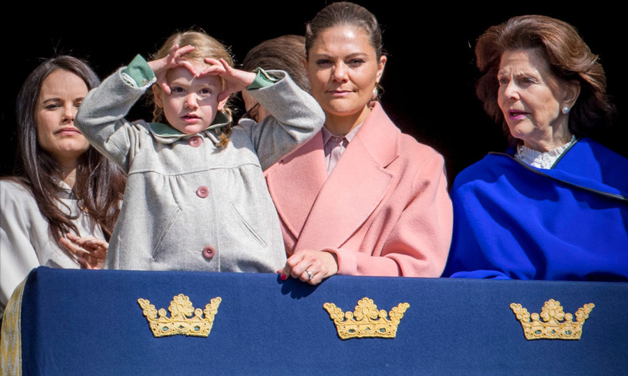 April 2017: The young Princess shielded the sun to get a better look at the crowd during her grandfather King Carl Gustaf's birthday celebration.