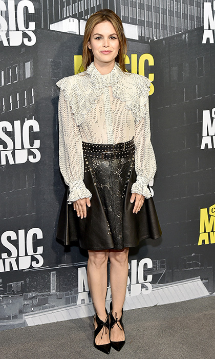 June 7: Actress Rachel Bilson donned a studded leather skirt for the 2017 CMT Music Awards.