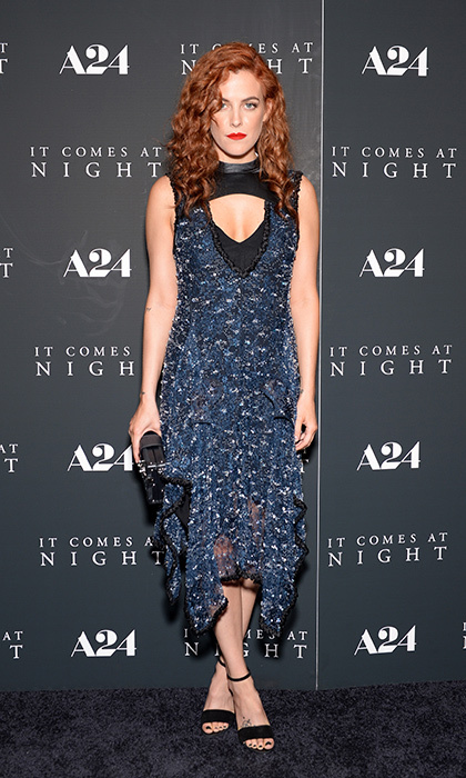June 5: Riley Keough wore a blue embroided dress with a keyhole neckline to the <I>It Comes At Night</I> New York premiere at Metrograph in New York City.