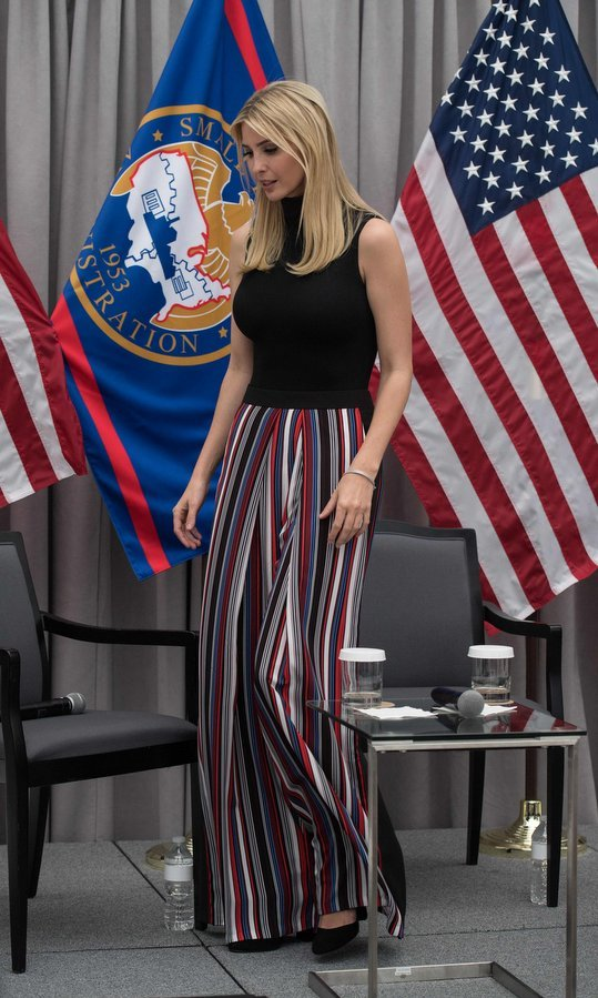 Ivanka paired striped palazzo trousers and a sleeveless top as she spoke at a National Small Business Week event in Washington, DC, in May 2017.