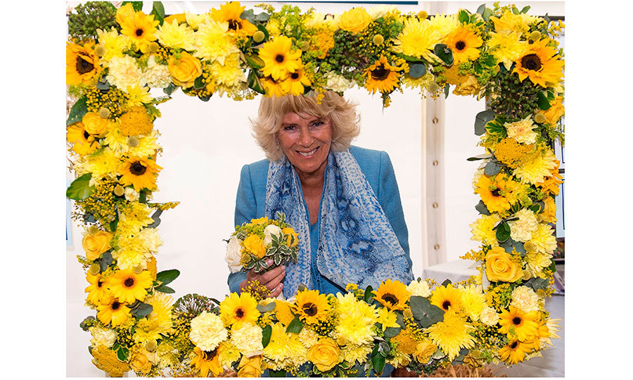 The Duchess was definitely all smiles as she posed  behind flower frame at the South England Showground.