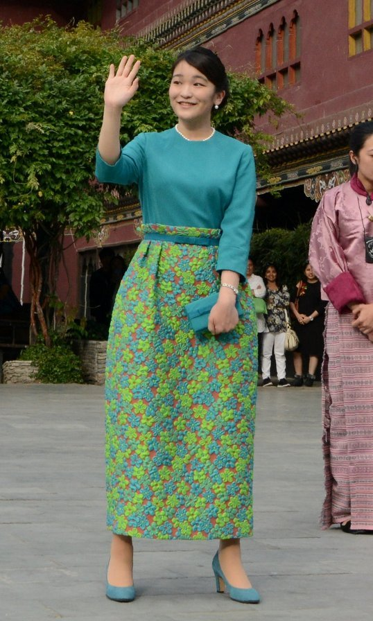 With her bracelet sleeves, classic pearls and pumps, Japan's Princess Mako looked to be taking a page from Jackie O's book at the opening ceremony of 'Japan Week' in Thimpu, Bhutan on June 2.