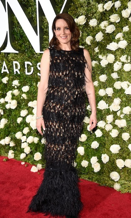 June 11: Tina Fey in glamorously feathered Sally LaPointe.