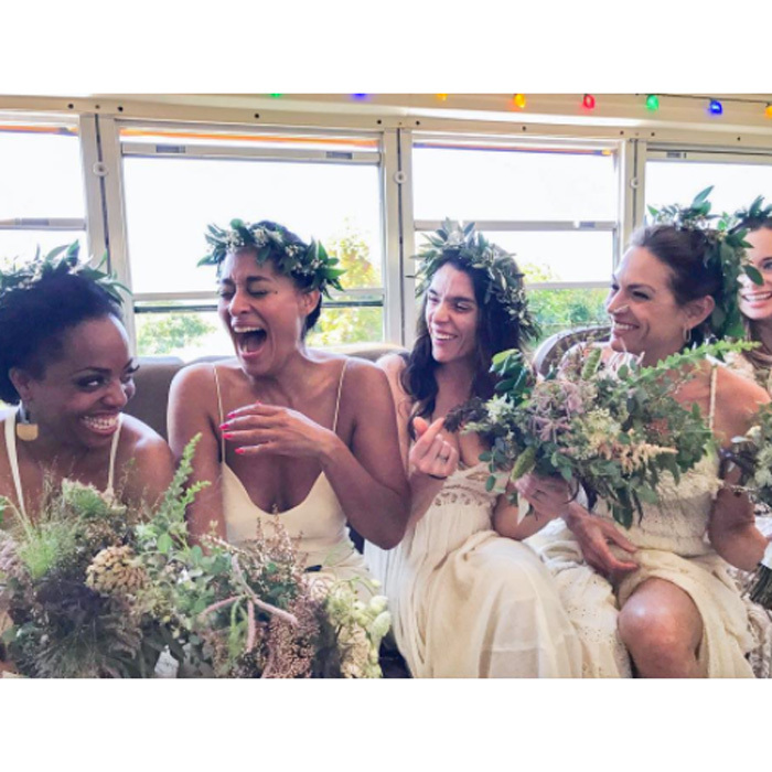 Tracee Ellis Ross had her sisters with her as they celebrated their brother Ross Naess wed longtime girlfriend Kimberly Ryan at Rancho Dos Pueblos in Goleta, California on June 10. The <i>Blackish</i> star couldn't contain her excitement alongside Rhonda Ross, Leona Naess and Katinka Naess. 
