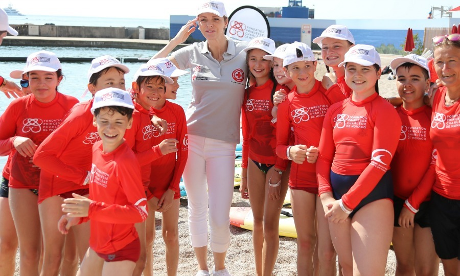 The Princess Charlene Foundation hosted Water Safety Day at Larvotto Beach in Monaco on June 12. Princess Charlene, a former Olympian, held the event to teach and encourage water safety to children.