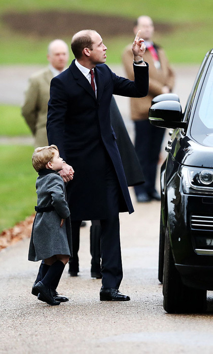 William pointed out something in the distance to his son as they left Christmas Day church service. George, who loves planes similar to his dad, was enthralled during the sighting.