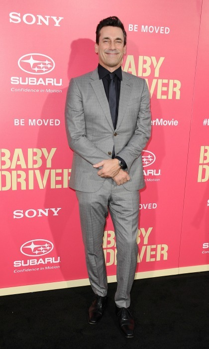 June 14: Jon Hamm looked sharp in a grey suit at the premiere of <i>Baby Driver</i> in Los Angeles.