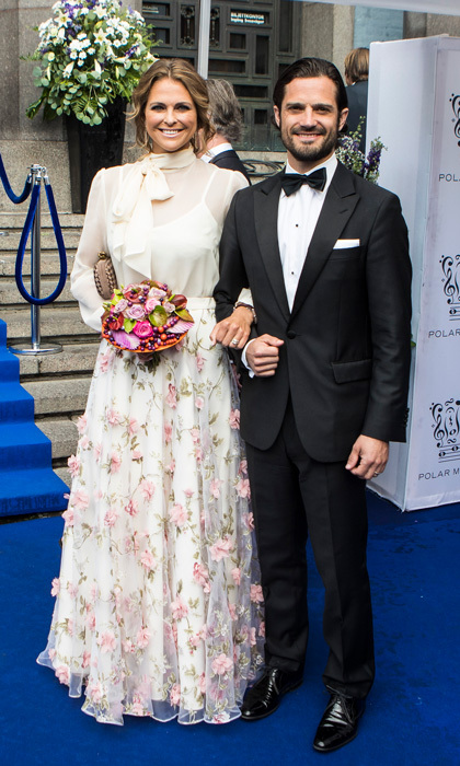The Crown Princess' younger sister, Madeleine, also stunned for the occasion. The royal, who celebrated her son Prince Nicolas' second birthday earlier in the day, wore an ethereal white gown by Ida Sjöstedt that featured 3D floral embellishments. 
