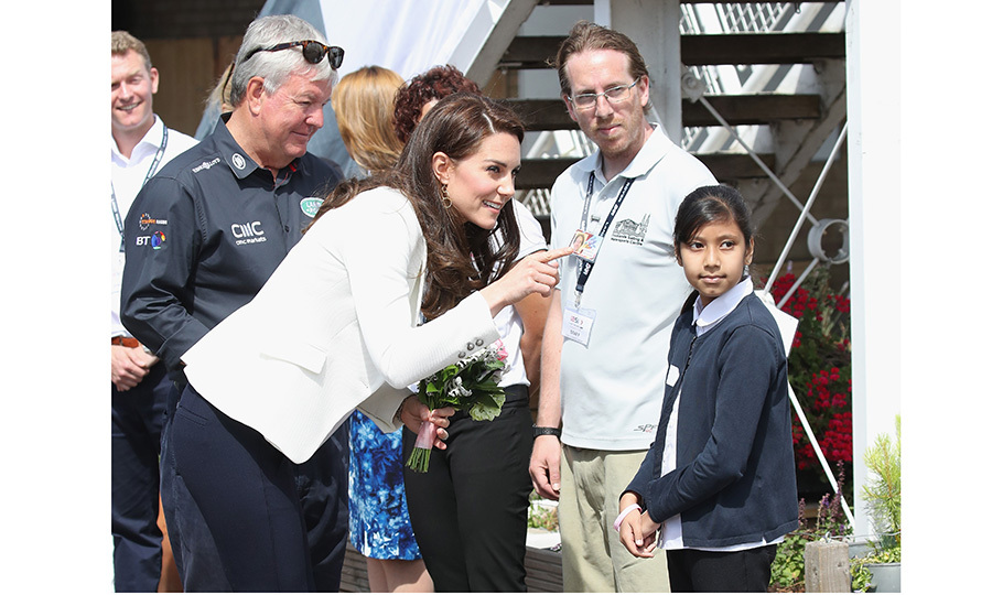 Meanwhile, Duchess Kate met with schoolchildren from East London during her visit to the 1851 Trust roadshow at Docklands Sailing and Watersports Centre.