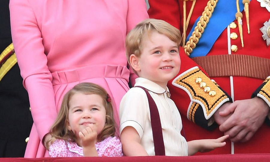Princess Charlotte and her big brother stared at the planes up above and also pointed out to the crowd that gathered below Buckingham Palace for the annual Trooping the Colour in June 2017.
