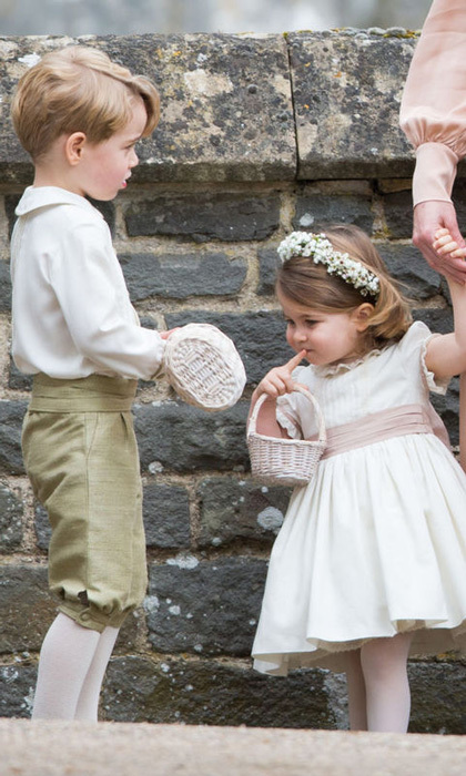 For their aunt Pippa Middleton's wedding in Bucklebury in May 2017, George and Charlotte were the perfect pageboy and bridesmaid in their coordinating outfits. 