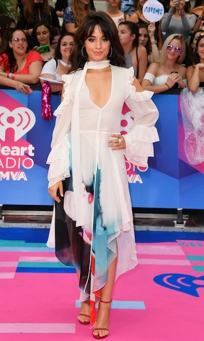 June 18: Camila Cabello sported a sheer ruffled watercolor print midi dress at the the 2017 iHeartRADIO MuchMusic Video Awards in Toronto.