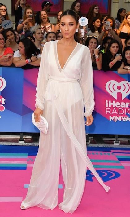 June 18: Shay Mitchell floated down the pink carpet in flowing August Getty Atelier at the the 2017 iHeartRADIO MuchMusic Video Awards in Toronto.