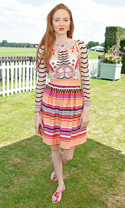 June 18: 'Snow White and the Huntsman' actress Lily Cole wore mixed prints by Kate Middleton favorite Temperley London to the Cartier Queen's Cup Polo final in England.