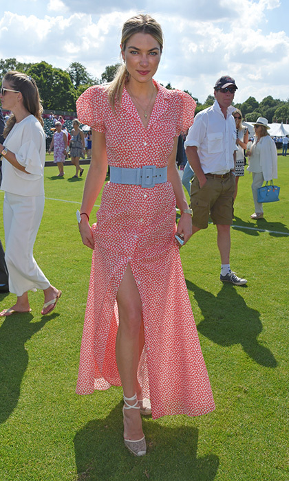 June 18: Jessica Hart donned espadrilles and a pretty shirt dress by Rosie Assoulin for the Cartier Queen's Cup Polo final at Guards Polo Club in Egham, England.