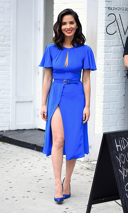 June 16: Olivia Munn was seen out and about in Manhattan wearing a stunning electric blue Diane von Furstenberg dress.