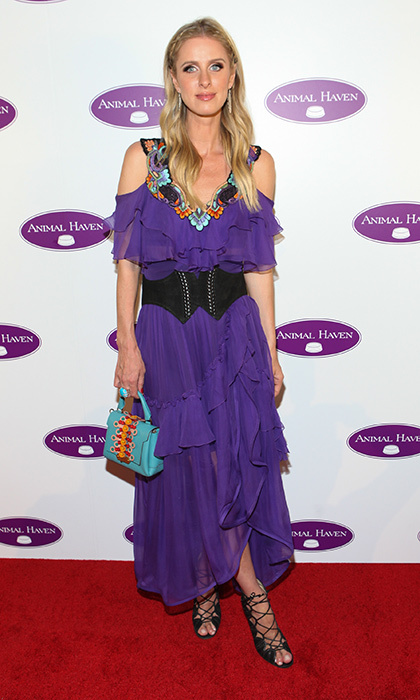 June 14: Nikki Hilton opted for colorful Alberta Ferretti as she stepped out for the Animal Haven's 50th Anniversary Party at Capitale in New York City. 