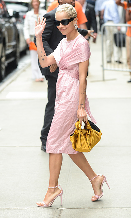 June 15: Zoe Kravitz exuded movie star vibes in her pale pink dress as she left the ABC Times Square Studios in NYC.