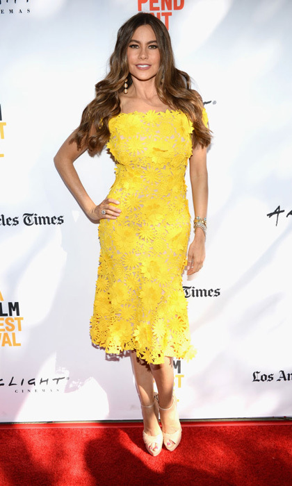 Sofia Vergara had a bright outlook on the red carpet of <i>The Female Brain</i> premiere during the 2017 Los Angeles Film Festival in Culver City on June 17.