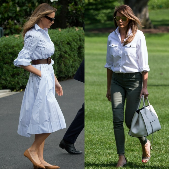 Melania departed the White House on June 17 (left) for her first trip to Camp David with her husband and son Barron Trump wearing a Gabriela Hearst embroidered cotton pin-striped dress, which she paired with beige Christian Louboutin flats and a wide leather belt by Michael Kors. 