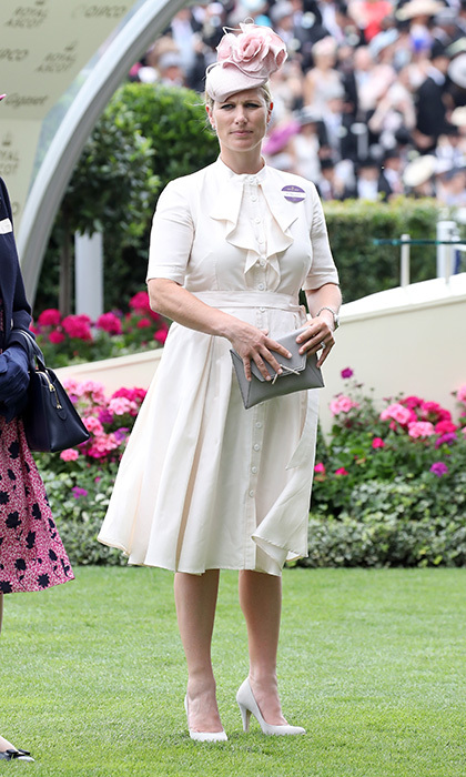 The Queen's granddaughter Zara Tindall also stepped out for Ascot on Day Three wearing a ladylike pink and cream look.