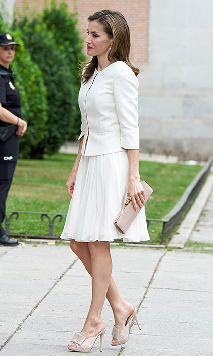 Queen Letizia of Spain put her best foot forward in some on-trend mules at the 'Art of Educating' school program at El Prado Museum in Madrid on June 19.