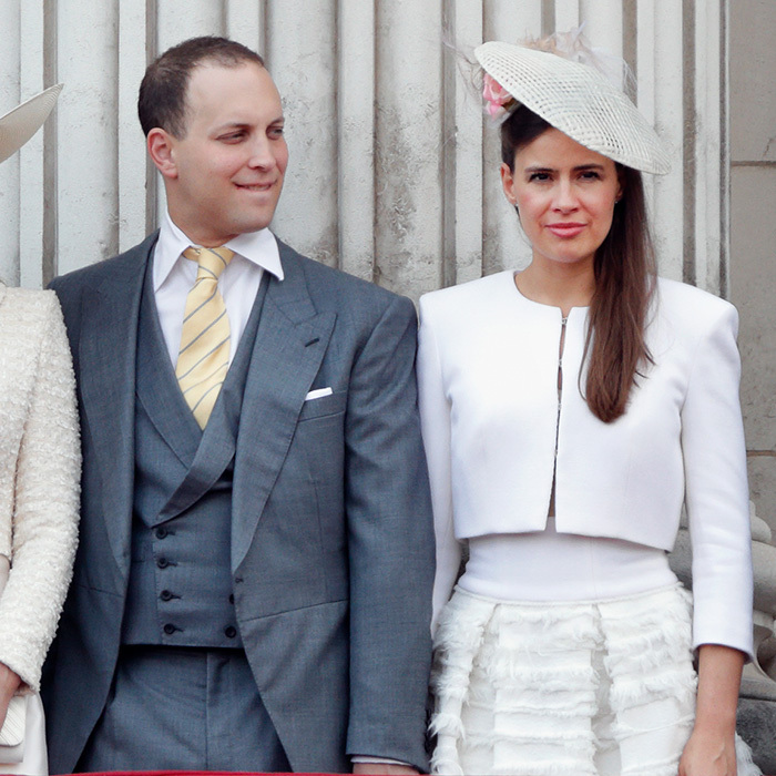 Lord Frederick Windsor 's wife Lady Frederick Windsor opted for a very popular royal combination – pink and white – for the Buckingham Palace balcony appearance during Trooping the Colour. 