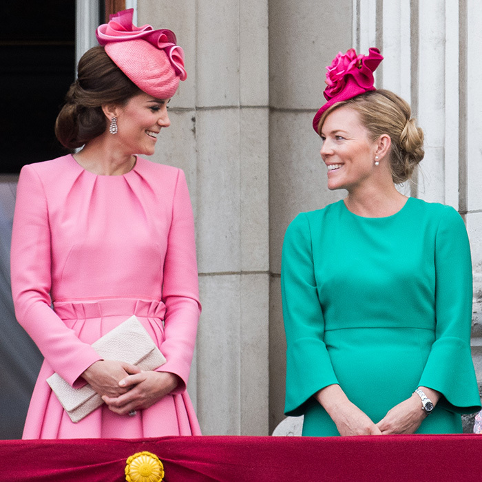 Both wearing pretty pink hats, the Duchess of Cambridge and her cousin-in-law Autumn Phillips were looking rosy in garden tones during Trooping The Colour in London.