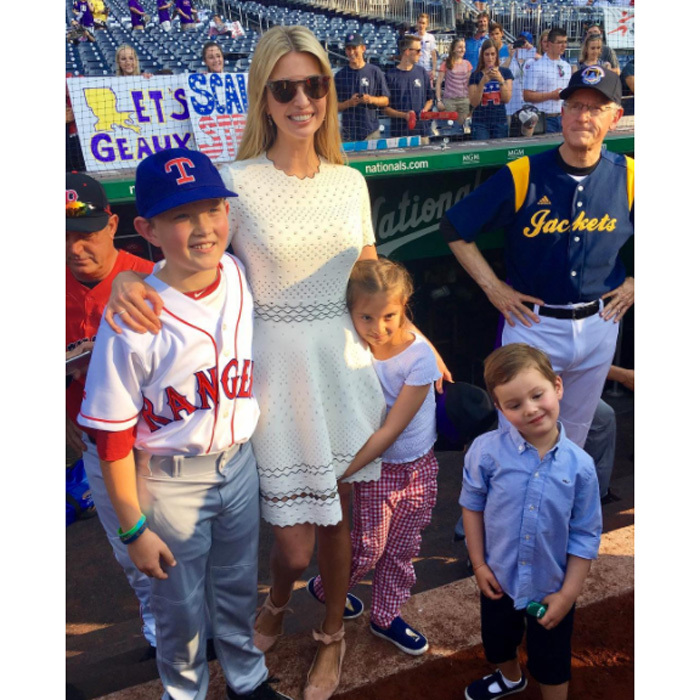 Ivanka took her kids out to the ball game. For the Congressional baseball outing in 2017, she wore a white short-sleeved dress with ballerine-styled flats.