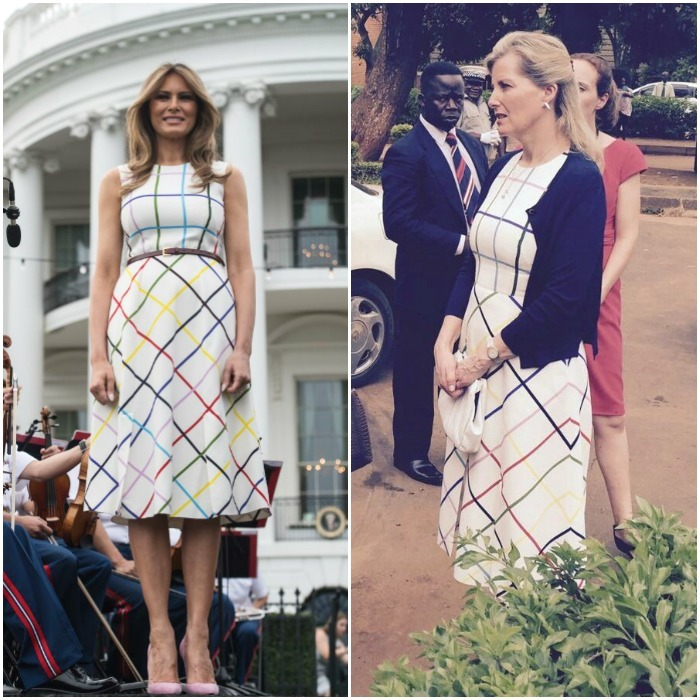 Melania Trump followed Michelle Obama's footsteps with twinning with royalty. The first lady wore the $2,255 Mary Katrantzou colorful dress to the Congressional Picnic on June 22. Sophie Wessex brought the dress along during her March 2017 visit to Malawi. 