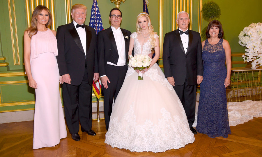 Melania Trump was a blushing guest at Treasury Secretary Steven Mnuchin and actress Louise Linton's wedding in Washington, D.C on June 24. 