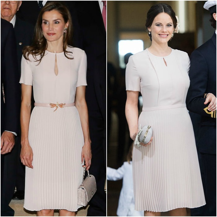 Queen Letizia and Princess Sofia both found this Boss dress equally appealing. Letizia wore the accordion-styled blush dress in June 2017 in Madrid while the Swedish royal wore it sans a belt to a 70th birthday celebration for her father-in-law in Stockholm.