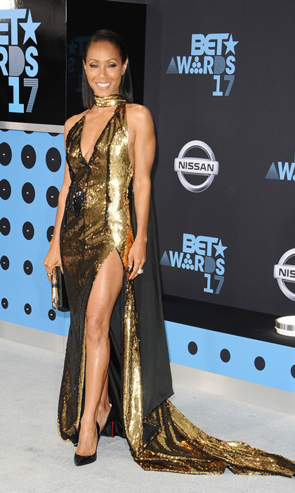 Jada Pinkett Smith showed off her toned arms and legs in this gold Alexandre Vauthier gown for the 2017 BET Awards.