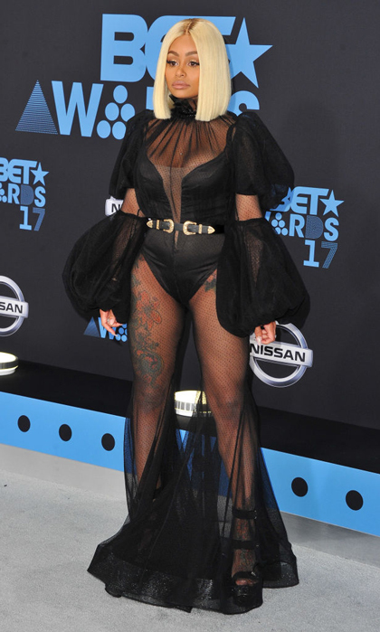 Blac Chyna opted for a black sheer gown that showed off her tattoos for the BET Awards.
