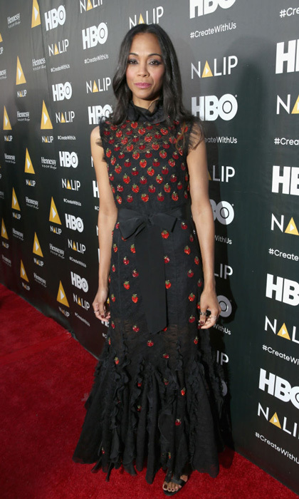 Zoe Saldana wore a Giambatista Valli dress to the NALIP Latino Media Awards where she accepted the Outstanding Achievement in Film Award from friend Vin Diesel.