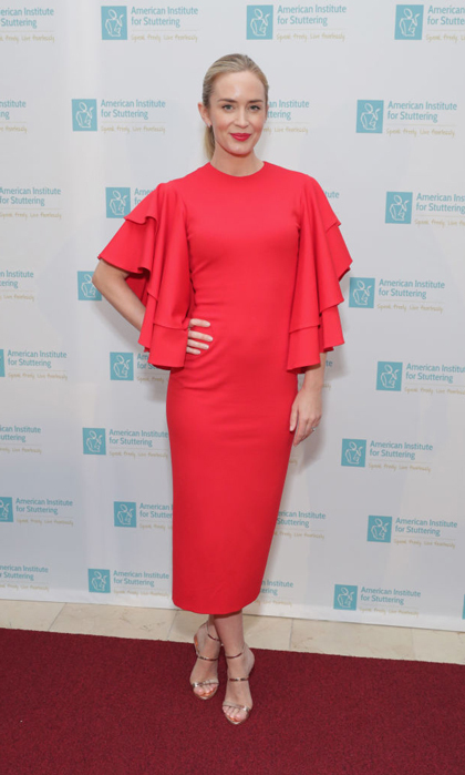 There is no hesitation that Emily Blunt looked radiant in Marc Bouwer as she hosted the American Institute for Stuttering 11th Annual Freeing Voices Changing Lives Benefit Gala at Guastavino's in NYC on June 26.