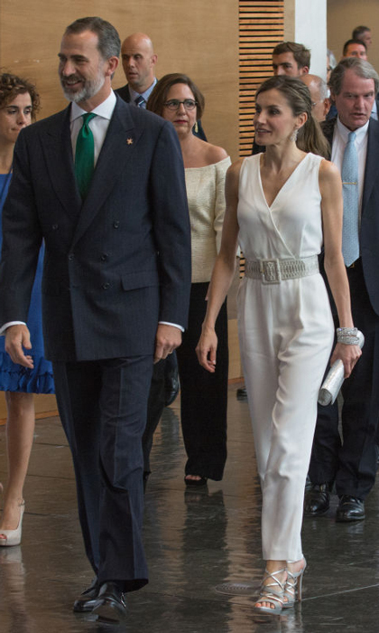 Queen Letizia added some sparkle to her white jumpsuit with her jewels and sandals as she and King Felipe attended the Princesa de Girona Foundation Awards.