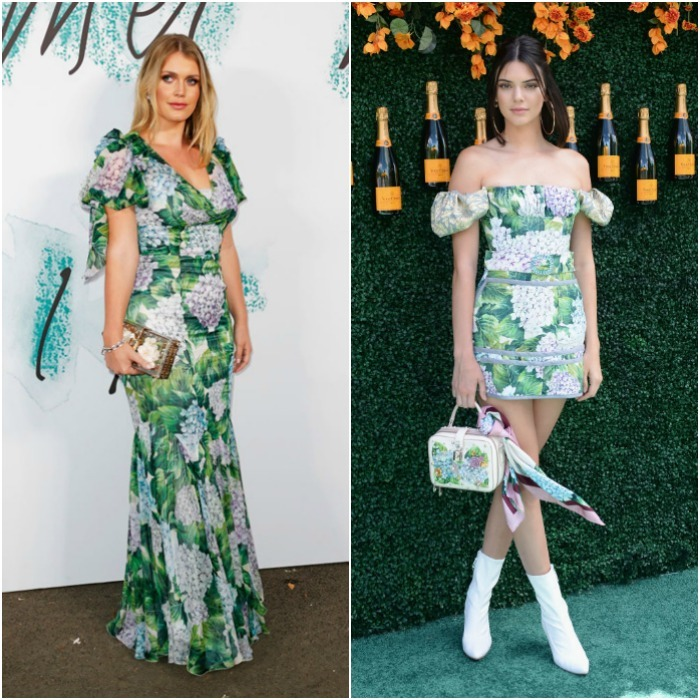 Princess Diana's niece and cousin to Prince William and Harry, Lady Kitty Spencer wore a longer version of this Dolce & Gabbana dress to the Serpentine Galleries Summer Party. Kendall Jenner stuck to a mini version for the Veuve Clicquot Polo Classic earlier in June 2017.