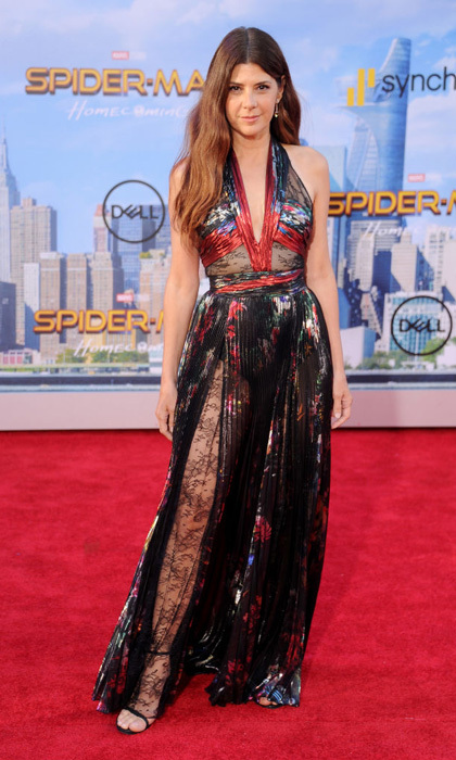 Marisa Tomei wore a multi-colored Zuhair Murad gown with lace insets to the <i>Spider-Man: Homecoming</i> premiere in Hollywood.