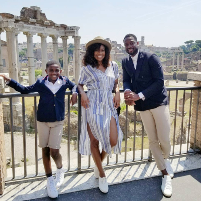 Gabrielle Union and Dwyane Wade have been gallivanting around Europe with Dwyane's son Zion. The fashionable trio made their way to Rome to take in the ruins.