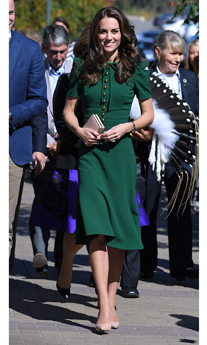 "The Duchess of Cambridge was impeccably styled on day four of the royal tour of Canada in September 2016, wearing a bespoke emerald green Dolce & Gabbana dress as she joined Prince William at the University of British Columbia campus in Kelowna. In 2017, the Italian designers released a white version of this dress, calling it ""The Middleton"".