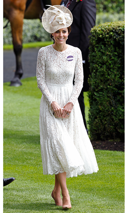 Duchess Kate seems to turn to the luxury label for her big debuts. Here she wore a lace midi dress by the designers for her first time at Royal Ascot in 2016. A month earlier she'd worn the dress underneath a red Zara coat for Queen Elizabeth's birthday gala.