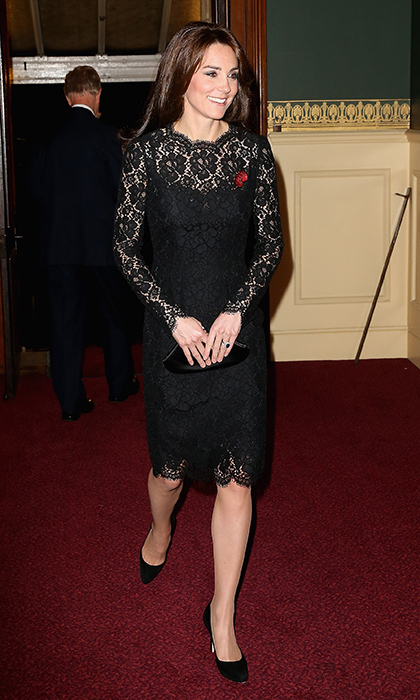 Duchess Kate wore a similar dress in black for the Annual Festival of Remembrance at Royal Albert Hall just two weeks later in November 2015. 