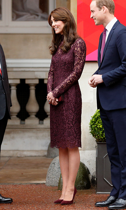 The Duchess of Cambridge was stunning in this burgundy lace design as she and husband Prince William met with Chinese president Xi Jinping at Lancaster House in October 2015 in London.