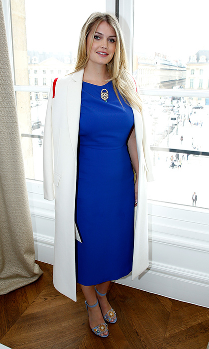 Princess Diana's niece – and HELLO! Fashion Monthly's cover girl – Lady Kitty Spencer opted for royal blue at the Schiaparelli Haute Couture Fall/Winter 2017-2018 show.